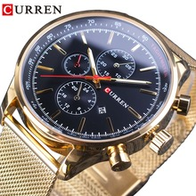CURREN Golden Stainless Steel Mesh Band Calendar Luminous Mens Watches Top Brand Luxury Waterpoof Quartz Wrist Watch