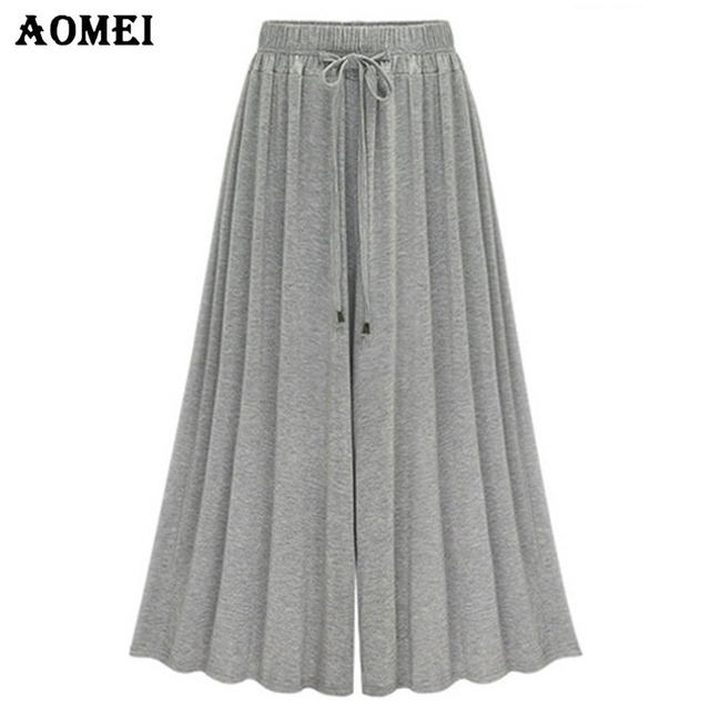 3f270eac70 2019 Spring Fashion Wide Leg Pants for Women Palazzo Pants High Waist Loose  Fit Cotton Trousers Ladies Spring Casual Pants