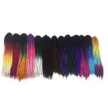 "Luxury For Braiding Syntheic Hair 120g 22"" 12strands/pc 5pcs/lot Green Purple Brown Blue Grey Ombre Havana Twist Crochet Braids"