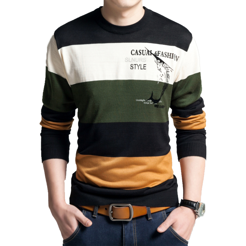 Fish Printed Pullover Men Brand Sweater Men 2019cashmere Clothing Striped Long Sleeve Mens Sweaters Wool Pull Homme Fashion