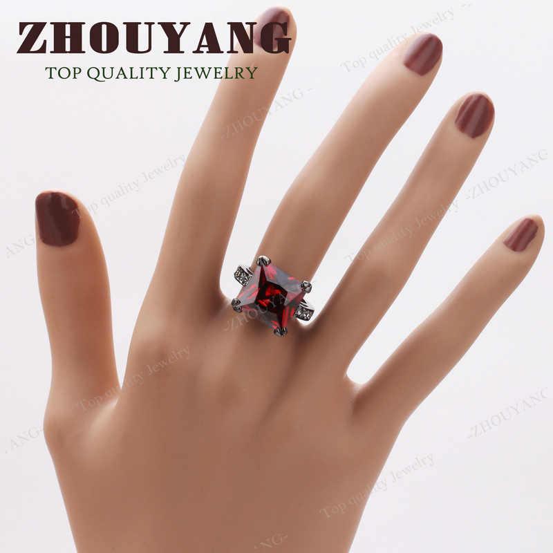 ZYR140 สแควร์คริสตัลสีแดงสีดำทองสีแหวนออสเตรียคริสตัลขนาดเต็ม