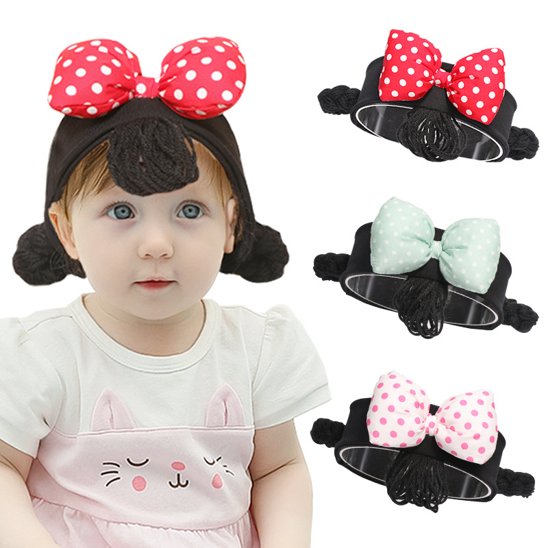 2019 Fashion Baby Girls Big Bow Headbands Cotton Elastic Hair Band Toddler Infant Wig Braids Hair Accessories Headwear