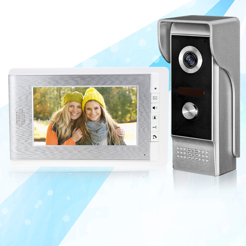 7'' TFT-LCD video doorbell sliver indoor monitor screen with metal IR COMS outdoor camera night vision for intercom system wired video door phone intercom doorbell system 7 tft lcd monitor screen with ir coms outdoor camera video door bell