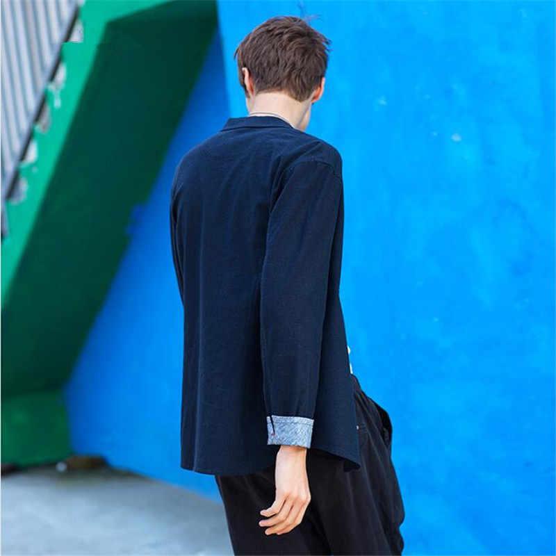 2019 ファッションメンズブレザー夏のカジュアルルースシングルブレストブレザー男性リネンソフト快適な服品質生き抜く
