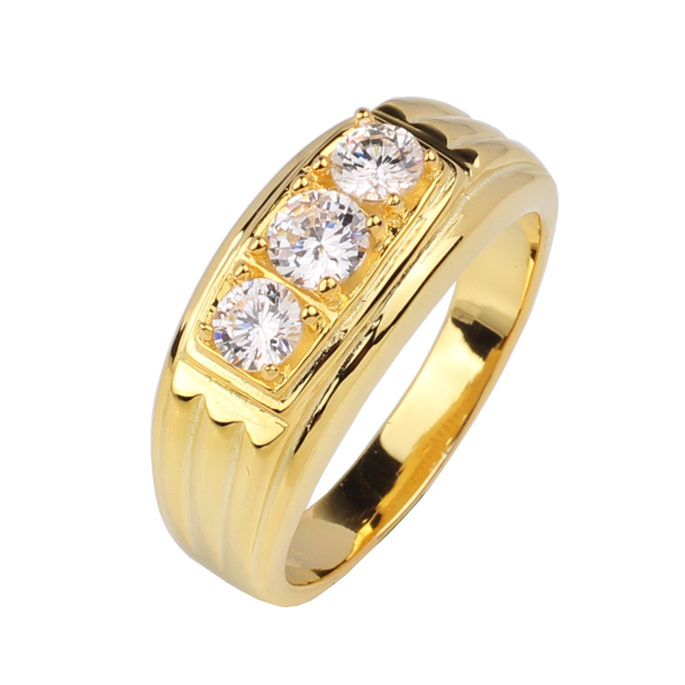 Men Jewelry Gold Color Sterling Silver Ring 925 3-stone CZ Anillo Hombre Size 10 to 13 R519G 8mm handmade custom tailor 3 stone cz stone titanium ring men fashion jewelry full size 5 15