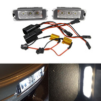 2PCS Cree Chips ED Number License Plate Light for assat CC 2009 For Passat 4D B6 06 10 Phaeton 02 New Beetle Cabrio 06~