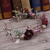 The Bride Headdress Flower Wreath Wedding Dress Beautiful Korean Handmade Rattan Jewelry Studio Photos Hair 2826
