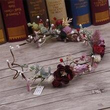 Bainha de flor de endereço de noiva, guirlanda, bonita, artesanal, rattan, joias macio, ornamento de cabelo, atacado
