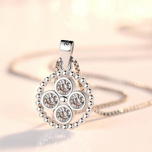Simple atmospheric round shape pendant silver color Hollow out zircon circular for women