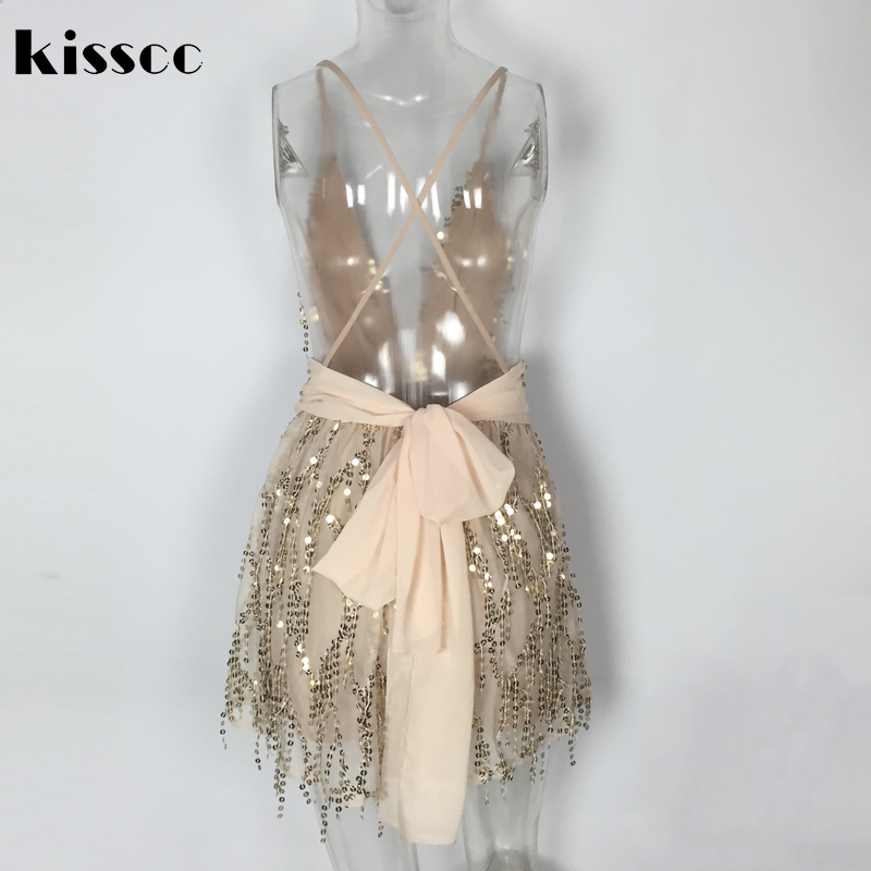 Sexy Deep V Qafa Shining Dress Sequined Dress Halter Tie Straps Cross - Veshje për femra - Foto 6