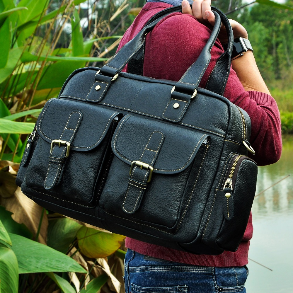 Hot Sale Design Real Leather Casual Fashion Men Briefcase Business Laptop Case Attache Messenger Bag For Men 061-b