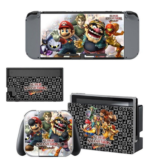 Protector Sticker of Super Smash Bro s Decal Vinyl Skin for Nintend Switch NS Console Controller +Stand Holder Protective Film 4
