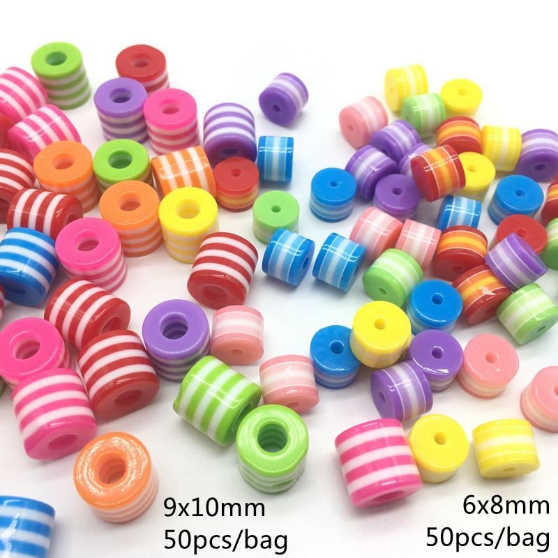 Acrylic resin Rainbow Stripe beads Circular Cylinder big hole Barrel bead Multi color Bracelet accessories New Arrival 9x10mm