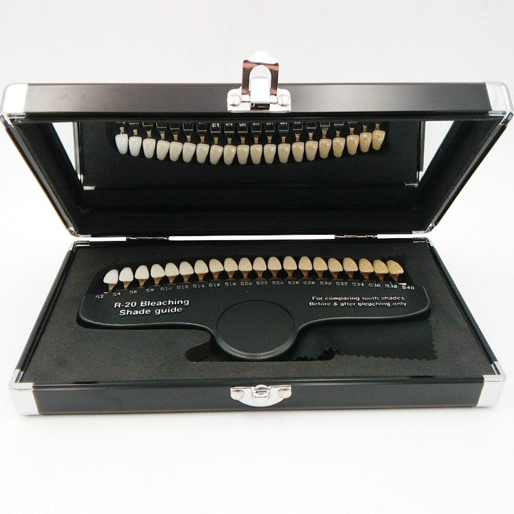 Haute qualité 20 couleurs luxary emballage blanchiment dentaire 3D guide d'ombre comparateur de couleur avec accélérateur de blanchiment des dents miroir