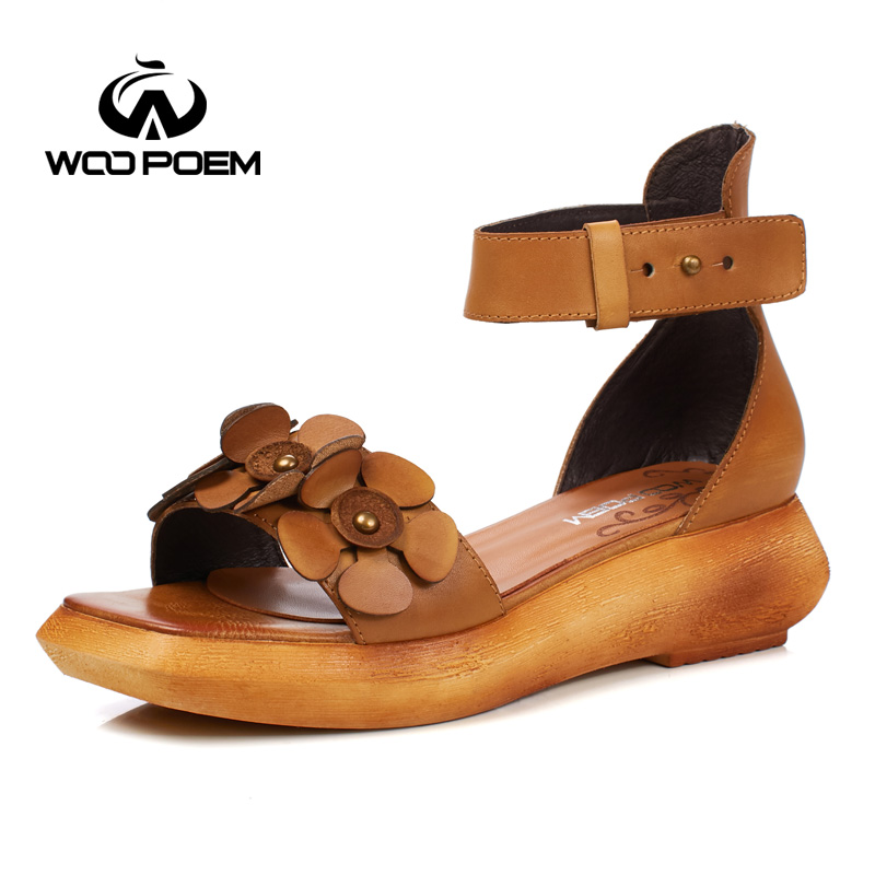 WooPoem Summer Shoes Woman Genuine Leather Sandals Women Retro Cover Heel Wedges Sandale Flower Ankle Strap Femme Shoes T333-6 new women sandals low heel wedges summer casual single shoes woman sandal fashion soft sandals free shipping