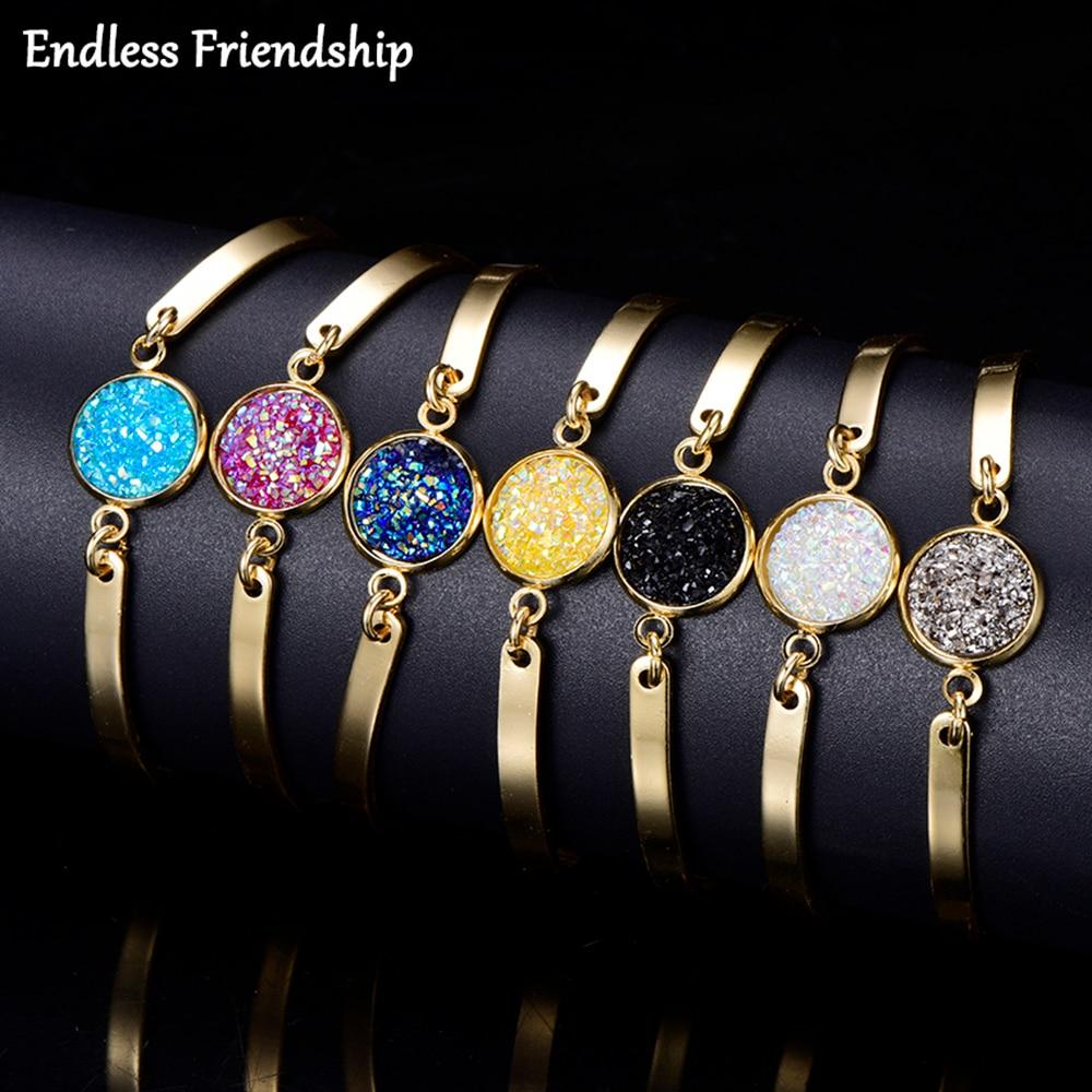 Shiny Rhinestone Style Women Bracelet Gold Friendship Chain Link Cuff Bracelets Female