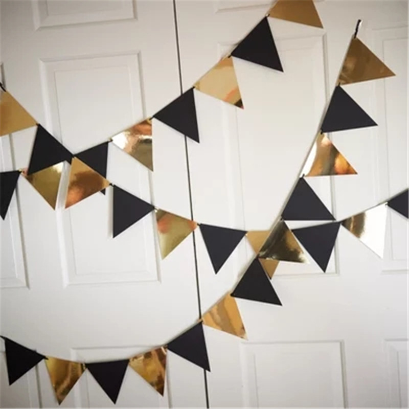 Glitter Paper Birthday Party Hanging Bunting Banner Flag: 3m Hanging Flags Pink Black Silver Pull Flag Glitter Paper