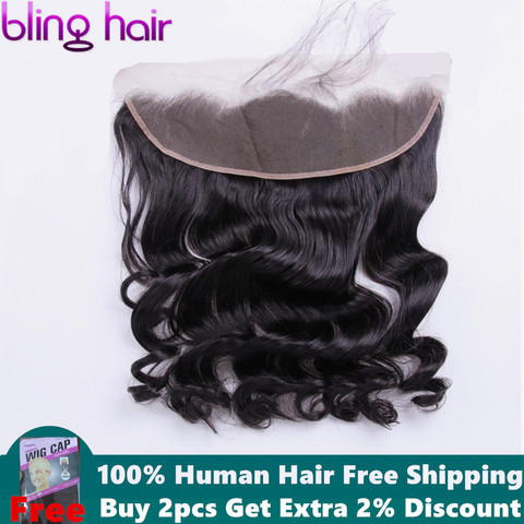 bling hair Loose Wave Lace Frontal Closure With Baby Hair 13*4 Free Part Brazilian Remy Human Hair Natural Color Free Shipping Pakistan
