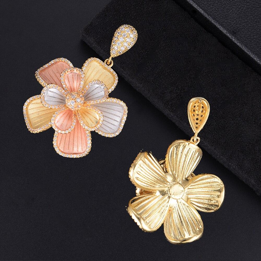 Missvikki Design Original grand pendentif fleur bijoux fins ensembles cristal brillant Vintage sculpté pour cadeau de fiançailles petite amie - 4