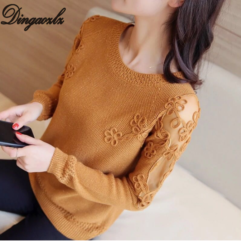 Dingaozlz Women Pullovers 2019 Sexy Lace Pullover Sweaters Fashion Patchwork Embroidery Collar Knitted Tops Pull Femme