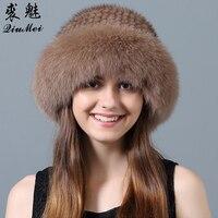 Шапка из натурального меха норки для девочек, шапки для русской зимы, бренд Fox Fur Trim для женщин, вязаная шапка из натурального меха норки, шапк