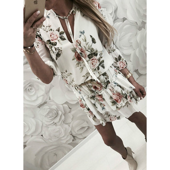 2019 Women Summer Dress Boho Style Floral Print Chiffon Beach Dress Tunic Sundress Loose Mini Party Dress Vestidos Plus Size 2XL 5