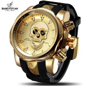 Image 2 - Relojes para hombre de cuarzo estilo calavera pirata 3D, reloj deportivo de silicona militar, resistente al agua, Masculino
