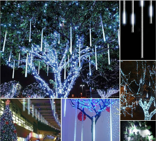 Lighting Of Christmas Tree 2014: 110V 220V 50cm LED Meteor Shower Rain Tube Lights Outdoor