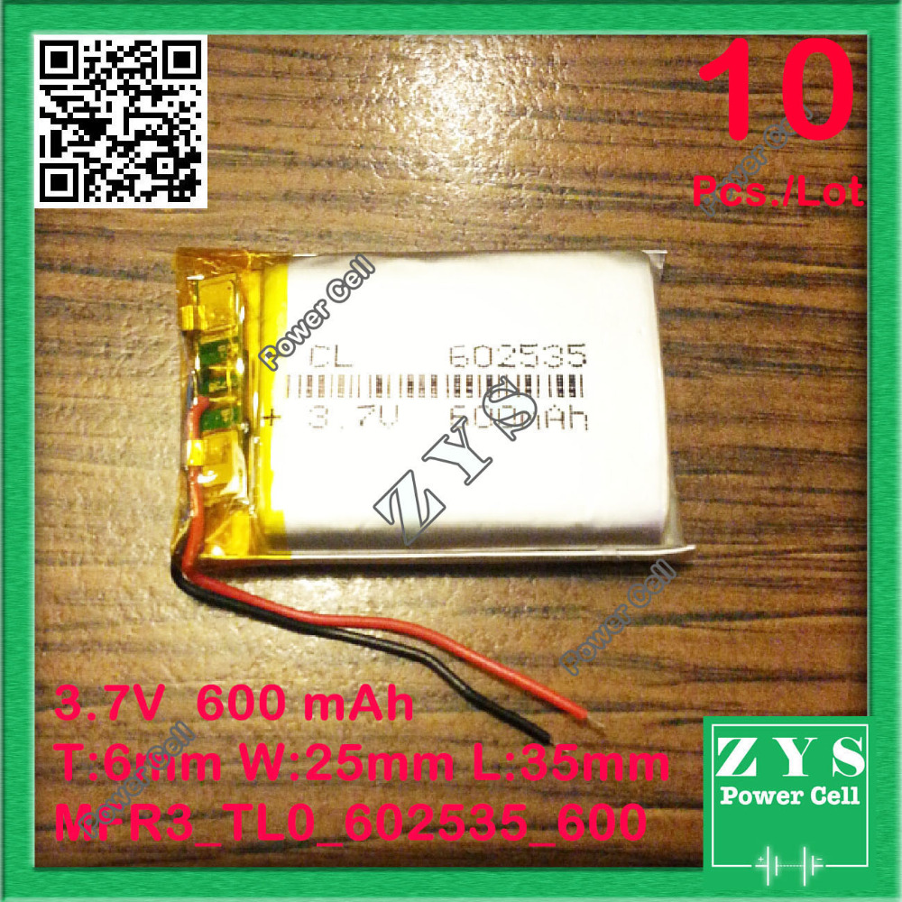 10 pcs./Lot 602535 3.7V 600mah Lithium polymer Battery with Protection Board For PDA Tablet PCs Digital Products 600 mAh 062535 best battery brand size 834370 3 7v 3200mah lithium polymer battery with protection board for pda tablet pcs digital products fr
