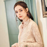 ARTKA 2018 Autumn and Winter New Women Solid Lace Up Flare Sleeve Loose Thin Pullover Shirt Vintage Lace Blouse SA15087Q