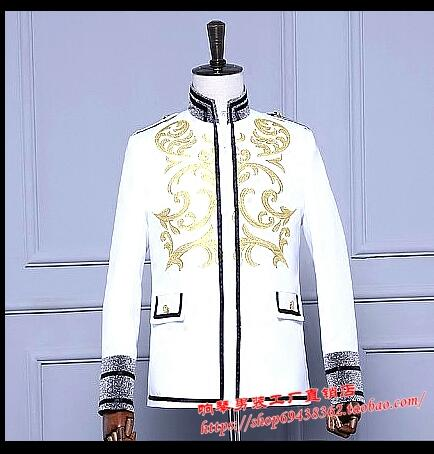 White collar men's coat singer host prince palace men's army jackets costumes dance costumes singer costumes clothing
