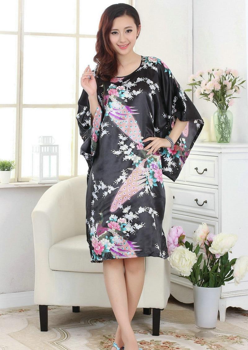 2015 New Women Stain Robes Sleepwears Animal Kimono Pajamas Casual Bathrobe Long Sexy Nightgowns Plus Size S-XXXXL - pajamas shop store