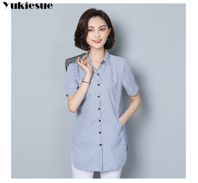 women's blouse shirt fashion woman blouses 2019 short sleeve striped womens clothing tops and blouses ladies tops Plus size 5xl 6