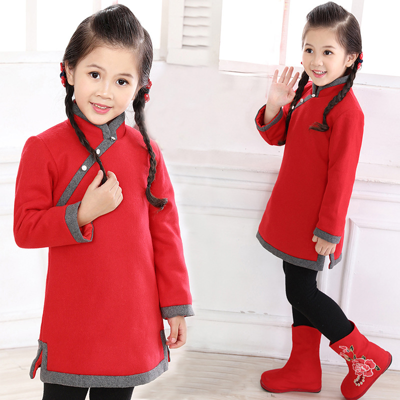 2019 new new arrival girls chinese style cheongsam kids girls long sleeve crane print dresses surplice qipao clothes years
