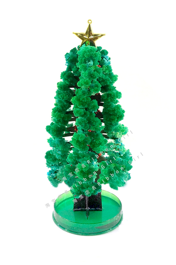 iWish 2018 28x11cm DIY Green Magic Growing Paper Crystals Christmas Tree Kit Artificial Magically Grow Trees Science Kids Toys