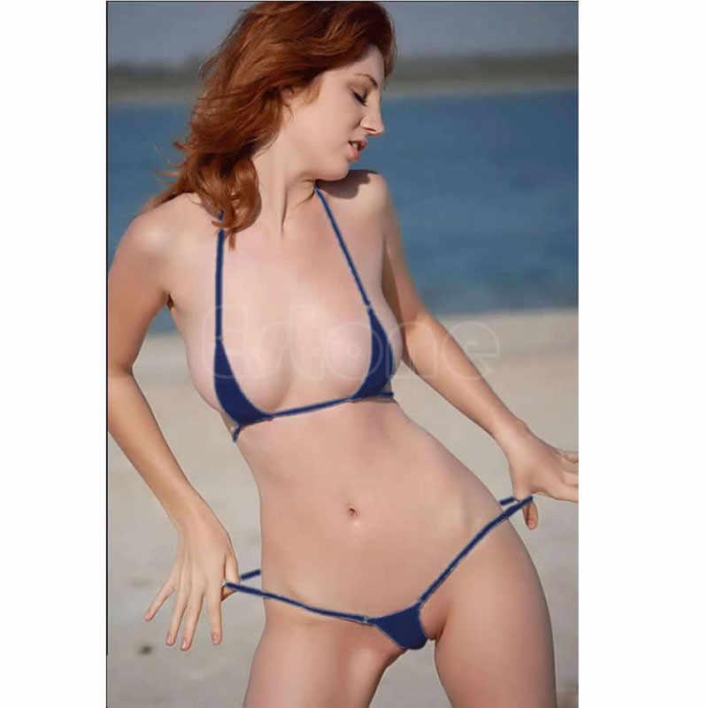 ec5321c1eb8 ... 2019 Fashion 1Set Hot Sexy Women Micro Thong Underwear G-String Bra  Mini Bikini Swimwear ...
