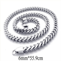 Poliahed Silver Color Necklaces Stainless Steel Necklace Wild Thick Man's Fashion Necklaces Size Length 55.9cm Width 1.2cm