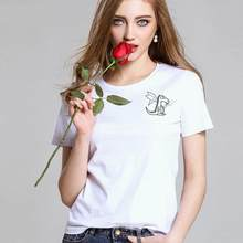 182011f6 Simple Drawing Planet Dog Printed Summer Women Casual Short Sleeve Tee T- Shirt