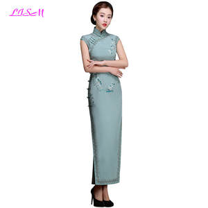 231a9aaf96 LISM 2018 Spring and Summer Dress Embroidery Fashion Cheongsam Dress  Elegant Formal Long Mother of the Bride Dresses