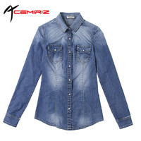 ACEMIRIZ 2017 Spring Autumn Denim Shirt New Style European American Women Deep Blue Long Sleeves Soft