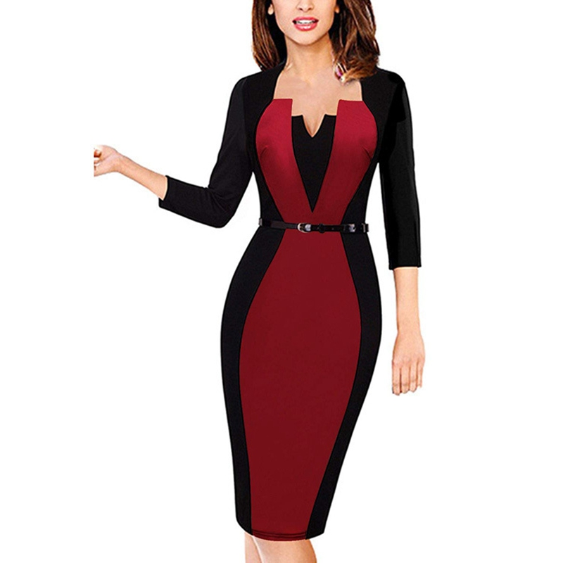 d4b487548ed4 Women Elegant Square Neck Long Sleeve Patchwork Casual Party Work Office  Fitted Stretch Slim Wiggle Pencil Sheath Bodycon Dress