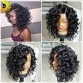 Corto y rizado Pelucas de Pelo Humano Para Las Mujeres Negras Brasileñas Llenas Del Cordón Humano Del Frente del Cordón Pelucas de Pelo humano Con El Pelo Del Bebé Del Pelo pelucas