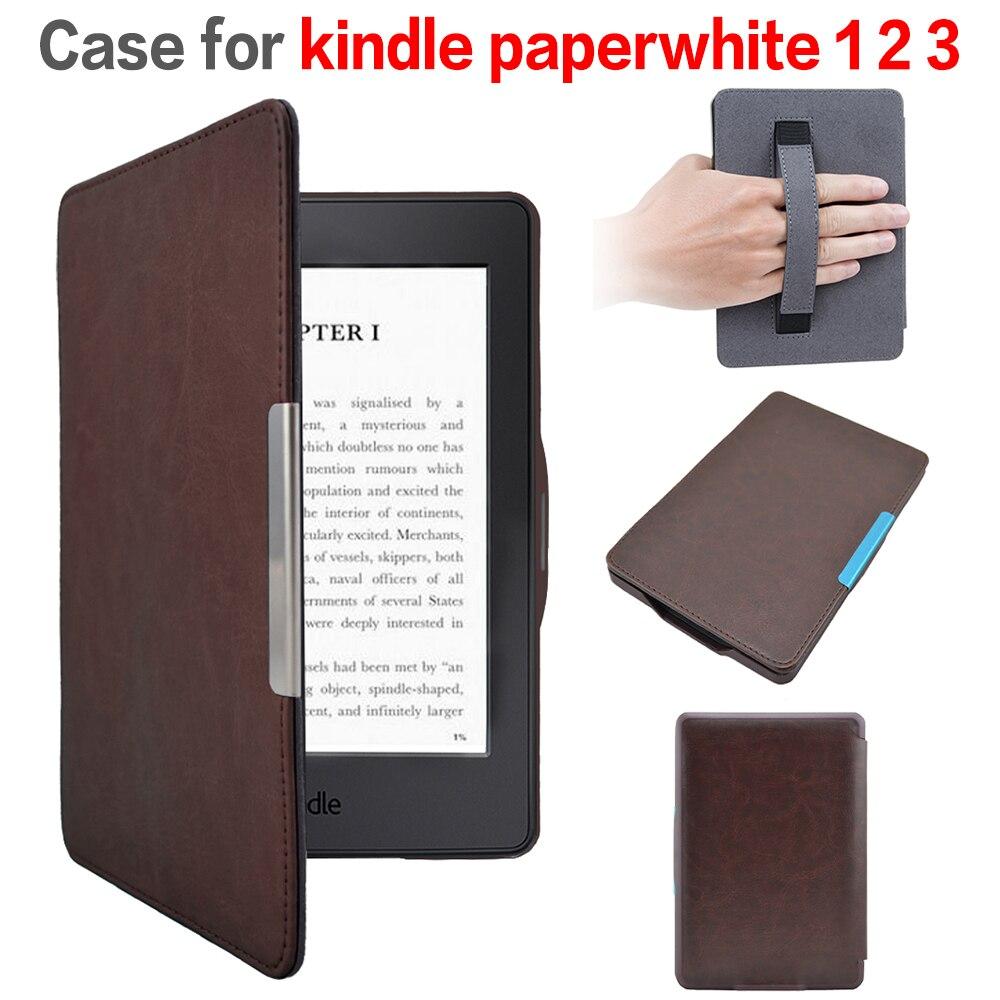 Caja de cubierta de cuero con cierre magnético funda para Amazon Kindle Paperwhite 1/2 + protector de pantalla + stylus pen