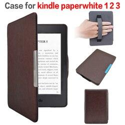 Funda caso capa de couro com fecho magnético para Amazon Kindle Paperwhite 1/2 com protetor de tela + + stylus pen