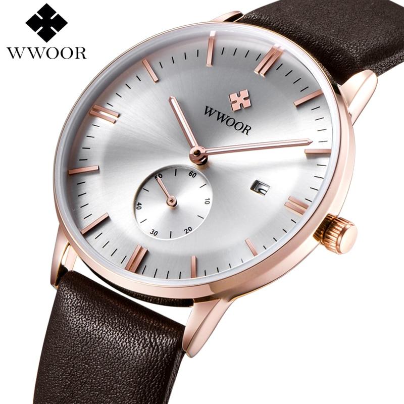 WWOOR Brand Watch Men Quartz Ultra Thin Date Clock Mens Watches Luxury Genuine Leather Male Sports Wrist Watch Relogio Masculino