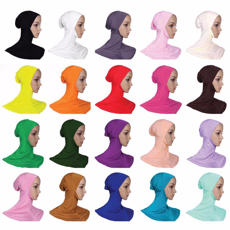 Hijab Headwear Full Cover Underscarf Ninja Inner Neck Chest Plain Hat Cap Scarf Bonnet 2017 1