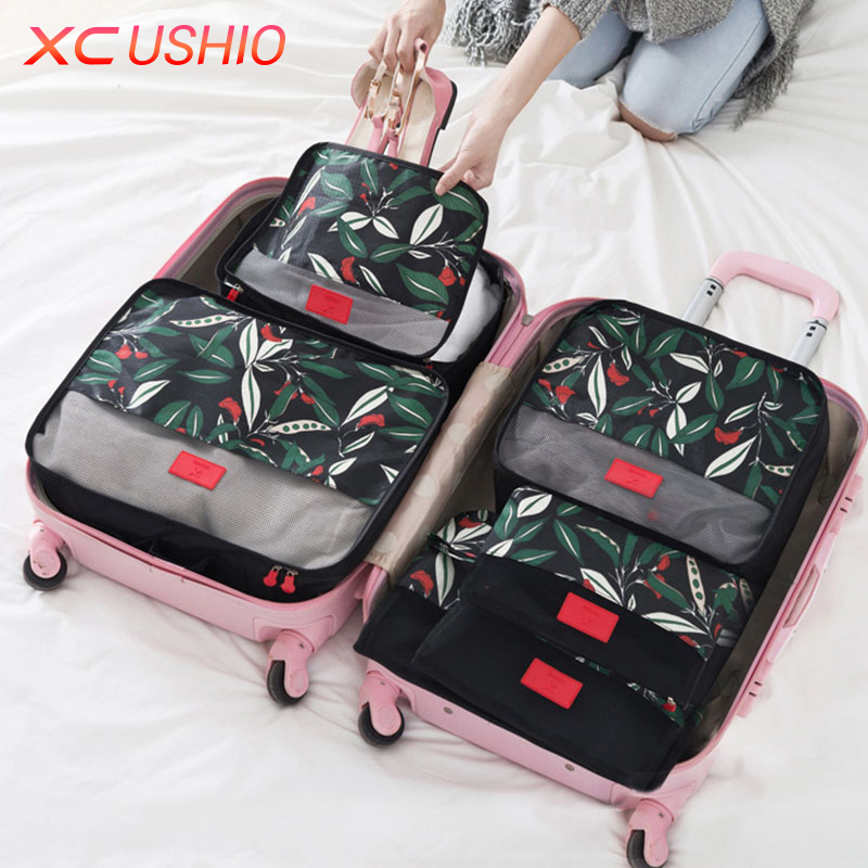 6pcs / set Floral Corak Travel Storage Bag Set Luggage Luggage Container Travel Closet Organizer Clothes Case Storage Bag