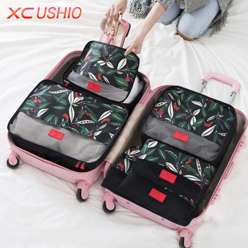 6 unids / set patrón de flores bolsa de almacenamiento de viaje conjunto de equipaje divisor contenedor maleta de viaje organizador bolsa de almacenamiento de la bolsa de ropa