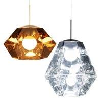 Modern Dining Room Pendant Lights diamond shape golden chrome acrylic suspension luminaire bar cafe restaurant sitting room lamp