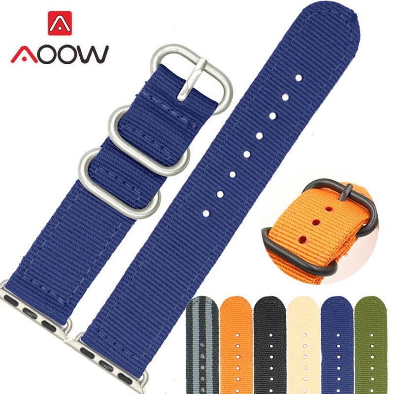 AOOW Nylon Watchband 42 mm 38 mm Straps for Apple Watch Band Series 3/2/1 Sport Leather Bracelet Strap For iwatch WatchBand цена и фото